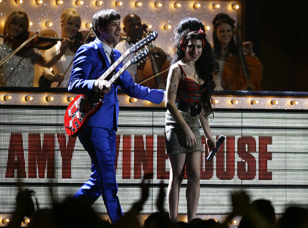 Amy Winehouse and Mark Ronson on stage, during the BRIT Awards 2008, at Earls Court in central London.
