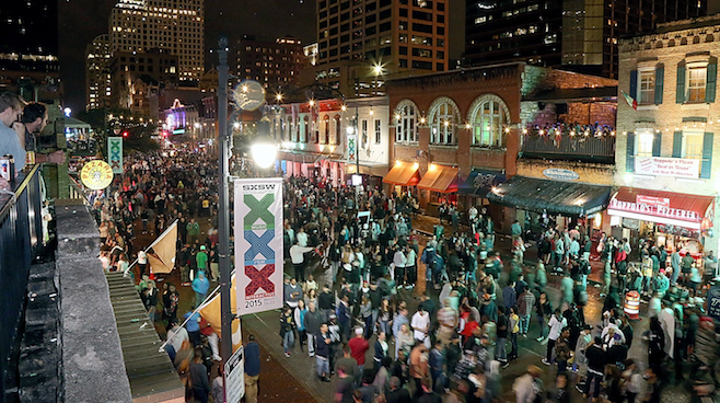 AUSTIN, TX - MARCH 20: A general view of the atmosphere on 6th street in downtown Austin during the South By Southwest Music Festival on March 20, 2015 in Austin, Texas. (Photo by Gary Miller/FilmMagic)