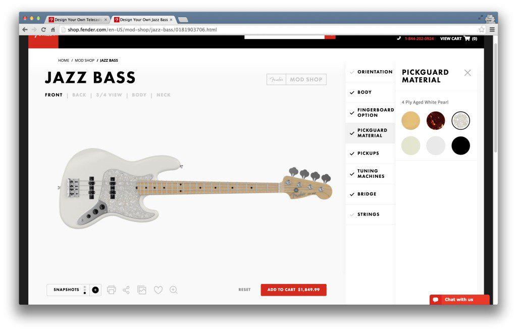 設計一把全白、楓木指板的 Jazz Bass 圖片:Fender Mod Shop網站
