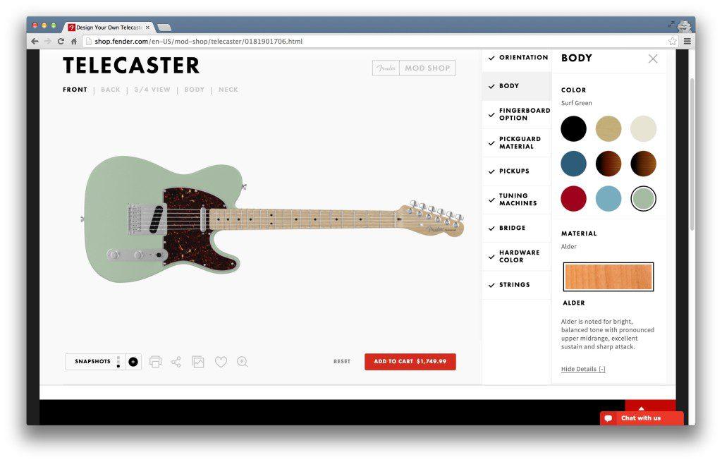 來一把衝浪綠搭配玳瑁護板的Telecaster吧!圖片:Fender Mod Shop網站