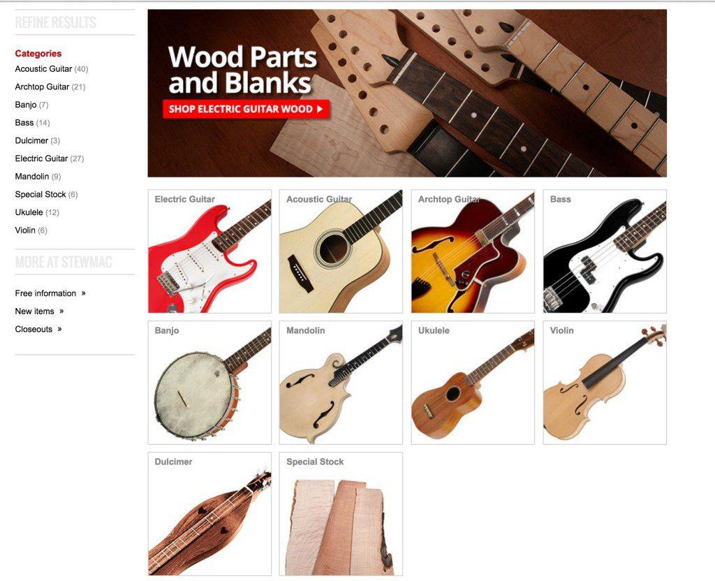 StewMac提供各種樂器的組建跟調整、製琴工具。圖片:StewMac網站