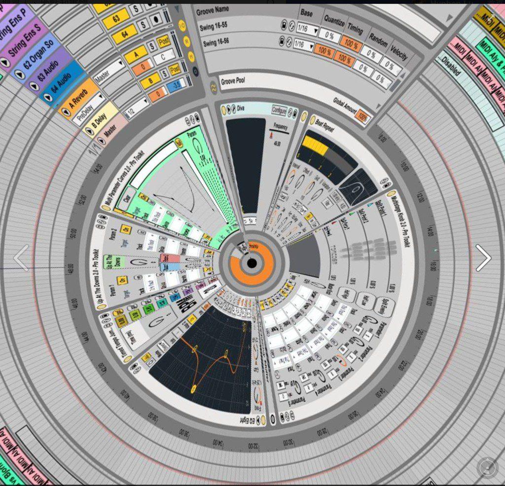 Ableton Live 的操作界面,可以看見使用的 plug-ins