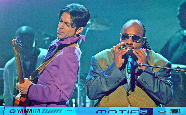 "Prince and Stevie Wonder perform ""Through the Fire"" (Photo by M. Caulfield/WireImage)"