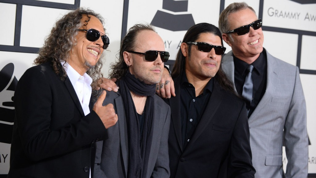 Kirk Hammett, from left, Lars Ulrich, Robert Trujillo and James Hetfield of Metallica arrive at the 56th annual Grammy Awards at Staples Center on Sunday, Jan. 26, 2014, in Los Angeles. (Photo by Jordan Strauss/Invision/AP)